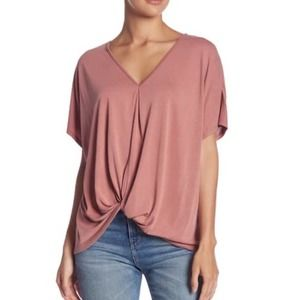 Anthropologie Dusty Rose Gathered Front Top